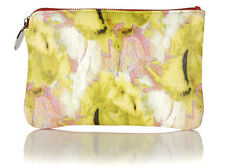 Meli Melo Italian leather Clutch Bag Purse Printed Abstraction & Spicy Pink