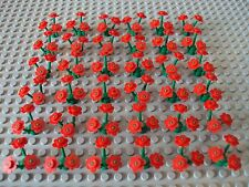 Lego Minifig ~ Lot Of Red Flowers w/Stems Foliage Ground Cover Plant #bvnhry