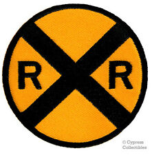 RR XING BIKER PATCH railroad crossing IRON-ON TRAIN SIGN EMBLEM embroidered NEW