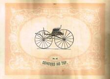 "Catalogue Advertising - Carriages by G & D Cook - ""CONCORD NO TOP"" - 1860"