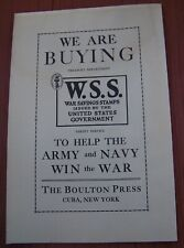 1944 WWII WAR SAVINGS STMPS BONDS ADVERTISING BOULTON PRESS CUBA NY