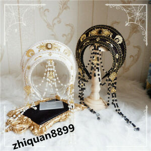 Handmade Palace Style Retro Lolita Bead Chain Girl Headband Hair Crown Ornament
