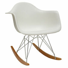 Charles Eames Inspired RAR Plastic Rocking Chair - White for Home or Office
