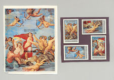 Antigua #689-693 Raphael Art Dolphins Angels 4v & 1v S/S Chromalin Proofs