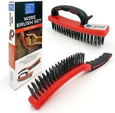 Wire Brush Set Heavy Duty Cleaning Steel Block Rust Remover Long Handle Cleaner