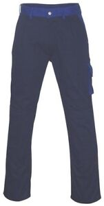 "MASCOT Mens Palermo WORK WEAR TROUSERS Knee Pad Pockets BLUE Navy | W40.5"" L32"""