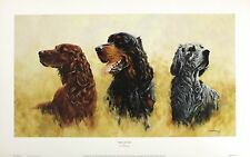 "MICHAEL HERRING ""Setters"" DOGS red english gordon IRISH SIZE:30cm x 55cm  RARE"