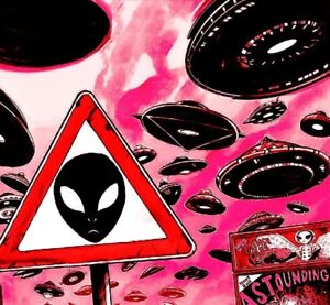 """Alien UFO Sign Crossing Invade Space I Want To Believe Cool 3"""" Sticker"""