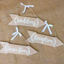 Set 3 Natural & White Wooden Venue Direction Arrows Wedding Reception Dancefloor