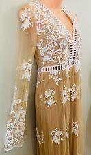 Forever21 Sz XS Maxi Dress Sheer Mesh Baroque Embroidery Wedding Beach Photo