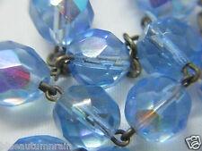 """† HEAVY PILGRIMAGE TO MEDJUGORJE SILVER & LIGHT BLUE FACETED GLASS ROSARY 21""""  †"""