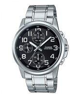 Casio MTP-E307D-1A Men's Black Dial Modern Stainless Steel Watch New Model