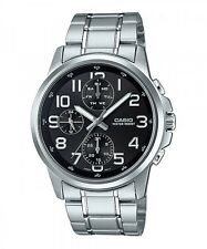 Casio MTP-E307D-1A Men's Black Dial Modern Stainless Steel Watch New Model