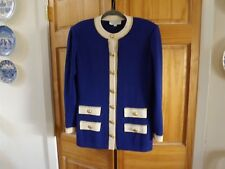 ST.JOHN LS Topper in Blue w/White---size *