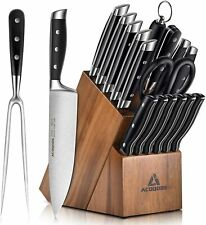 Knife Set, 17-Piece Kitchen Knife Set with Block Wooden German Stainless Steel