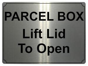 622 PARCEL BOX Lift Lid To Open Metal Aluminium Plaque Sign Door House Office