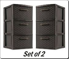 Pack of 2 - Espresso Plastic Storage Box Organizer 3 Drawer - Storage Weave Cart