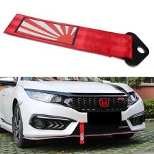 Sport Red Car Bumper Trailer Racing Towing Hook Japan Rising Sun Decal Tow Strap
