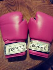 ProForce Leatherette Boxing Gloves - Pink with White Palm