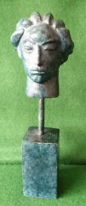 Small Bronze Sculpture of a Head with Patrina by Swedish Sculptor Carl Miles (18