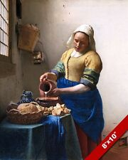THE MILKMAID WOMAN POURING MILK JOHANNES VERMEER PAINTING ART REAL CANVAS PRINT