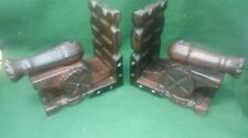 PAIR OF VINTAGE  RUSTIC WOODEN CANNON BOOKENDS