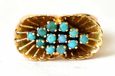 18K Solid Gold and Persian Nishapur Turquoise Ring Size 5.5
