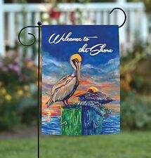 New Toland - Pelican Pier - Colorful Ocean Bird Sunset Welcome Garden Flag