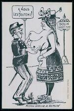 Germany nude Titons woman WWI ww1 war humor satirical propaganda c1915 postcard