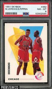 1991 Skybox #462 Michael Jordan Scottie Pippen Chicago Bulls HOF PSA 8 NM-MT