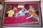 Vintage Arthur Sarnoff Dogs Playing Pool Tapestry/Wall Hanging 58X39 Turkey