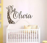 Girls Name Wall Decal, Giraffe Vinyl Sticker, Safari Nursery Wall Decor T128