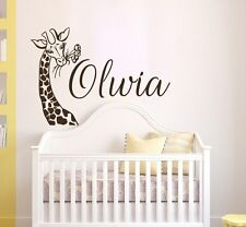 Girls Name Wall Decal, Giraffe Vinyl Sticker, Safari Nursery Wall Decor T128