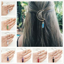 Multicolor Lady Moon Hair Clip Crystal Barrette Hexagonal Pendant Hair Accessory