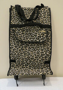 Bovano USA Leopard Tapestry Bag Wheels Rolling Foldable shopping travel Zip Top