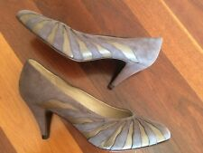 Miss Louise Grey Suede And Leather Zebra stripes Pumps Size 36.5 BNWOT