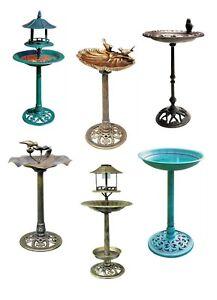 Bird Bath Traditional Ornamental Pedestal Outdoor Garden Water Copper Cast Iron