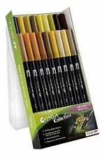 Tombow Brush Pen 18 Colour EARTH TONE SET Double Ended Artist Craft Marker Pens