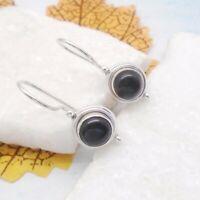 Onyx schwarz black rund gothic Design Ohrringe Ohrhänger 925 Sterling Silber neu