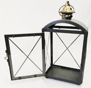 LANTERN TEA LIGHT HOLDER INDOOR & OUTDOOR GREY & BRUSHED BRASS METAL & GLASS