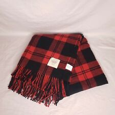"""Nido Notte Italia Plaid Throw Blanket New 51"""" X 67"""" Made In Italy Red Black"""