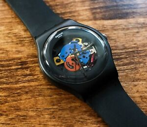 Swatch Watch Black Lacquered SUOB101   NewGent 41mm Silicone