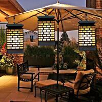 99LED Solar Outdoor Hanging Lantern Flicking Flame Light Garden Yard Torch Lamp