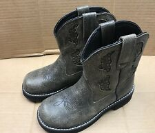 Ladies Gray Leather Justin Roper Western Boots Sz:5.5