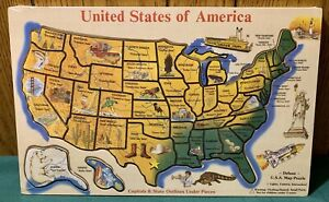 """Vintage Melissa & Doug Deluxe USA Map Frame Tray Puzzle Sealed 18.25"""" Long *"""