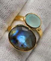 Chalcedony Gemstone Gold Plated Ring Jewelry 925 Sterling Silver FreeShip MR1702