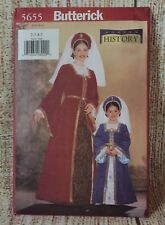 Butterick 5655 Girl Gown Costume Sewing Pattern size 2-5  Making History UNCUT