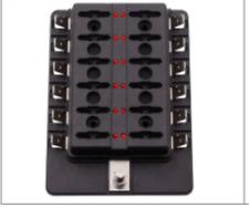 12 Way Blade Fuse Box Holder with LED Warning Light Kit