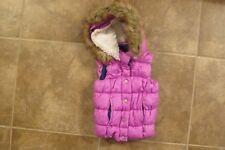 Double Deer Girls Size 6 6X Purple Hooded Puffer Vest Fleece Lined Jacket Coat