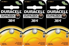 3 NEW! Duracell 364 Button Coin Battery Silver Oxide 1.5 volt Watch/Electronic